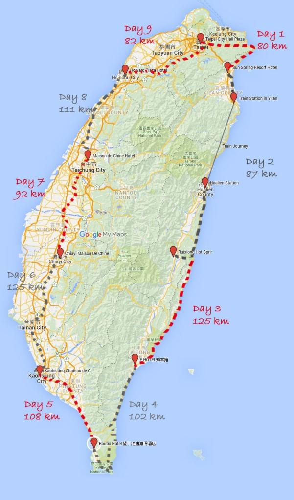 taiwan hotels und ungefähre Route